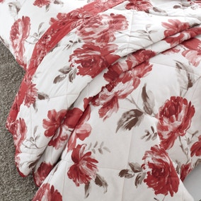 Catherine Lansfield Painted Floral Red Bedspread