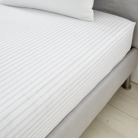 Catherine Lansfield Ticking Striped Silver Fitted Sheet