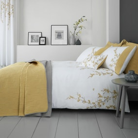 Catherine Lansfield Embroidered Blossom Ochre Duvet Cover and Pillowcase Set