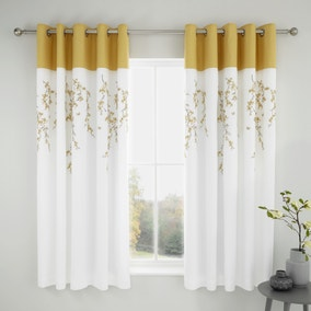 Catherine Lansfield Embroidered Blossom Ochre Eyelet Curtains