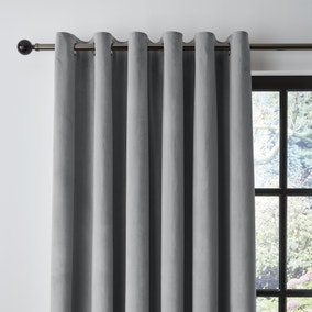 Recycled Velour Chateau Grey Eyelet Curtains