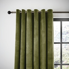 Recycled Velour Olive Eyelet Curtains