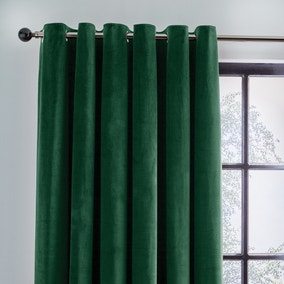 Recycled Velour Bottle Green Eyelet Curtains