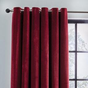 Recycled Velour Claret Eyelet Curtains