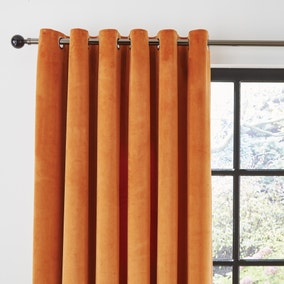 Recycled Velour Roasted Pecan Eyelet Curtains