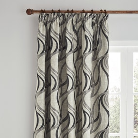 Mirage Charcoal Pencil Pleat Curtains