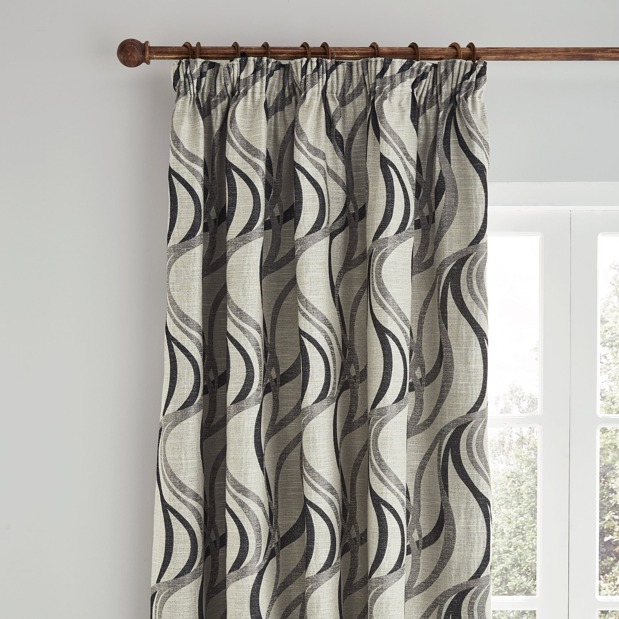Photo of Mirage charcoal pencil pleat curtains charcoal