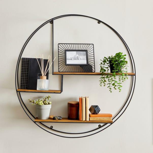 Industrial Extra Large Circle Shelf Black