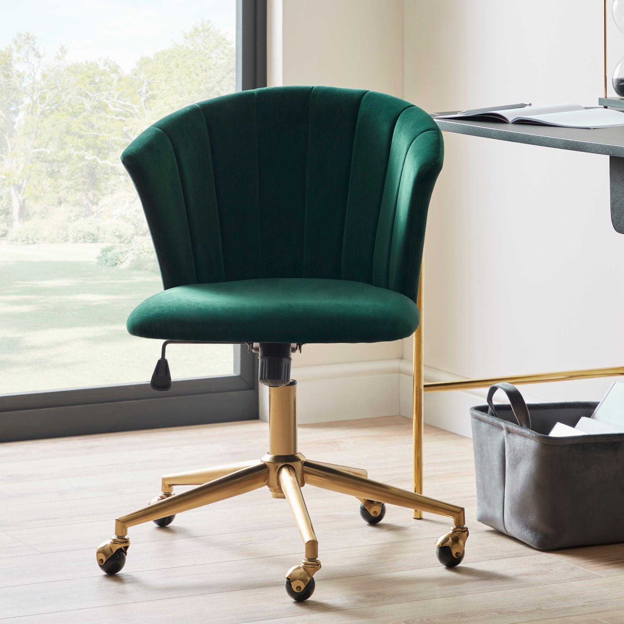 Kendall Velvet Office Chair Green/Brown