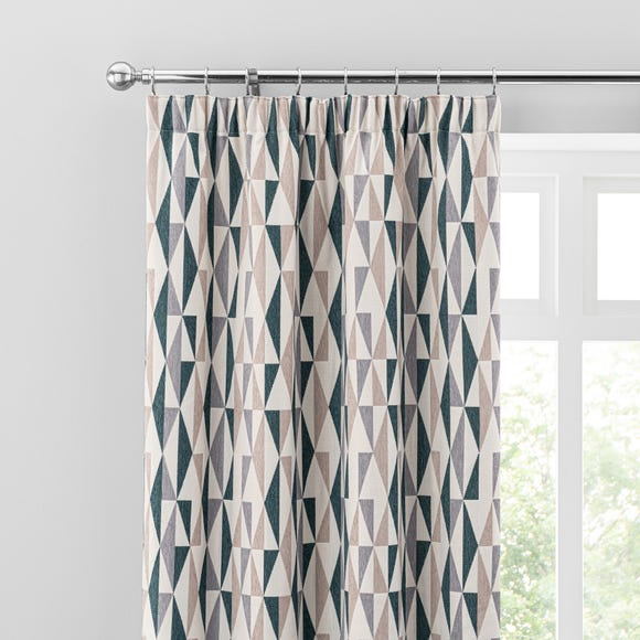 Elements Triangles Peacock Pencil Pleat Curtains  undefined