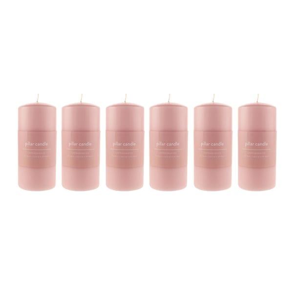 Pack of 6 Rose Pillar Candles Rose (Pink)