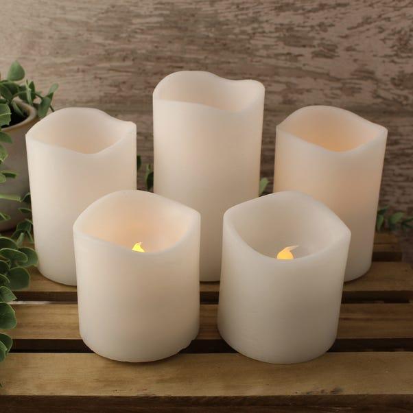Set of 5 White LED Candles