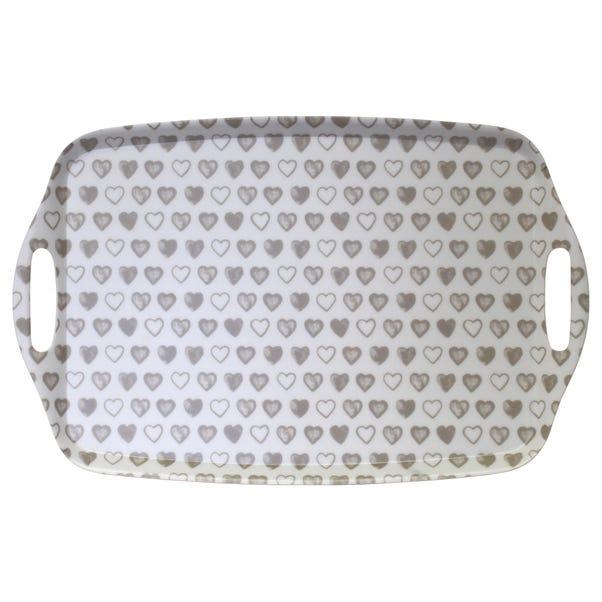 Heart Melamine Lap Tray with Handles MultiColoured
