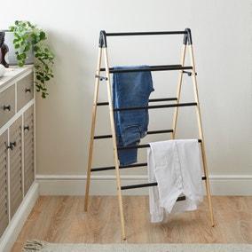 Ladder Bamboo Matt Black Indoor Airer