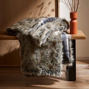 Alpine Check Faux Fur Throw