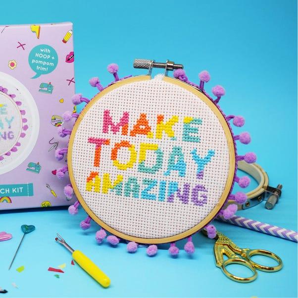 The Make Arcade Make Today Amazing Quote Midi Cross Stitch Kit MultiColoured