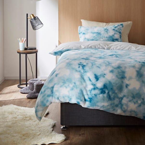 Blue Tie Dye Ombre Faux Fur Duvet Cover and Pillowcase Set  undefined