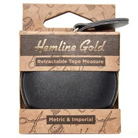 Hemline Gold PU Leather Retractable Tape Measure 150cm