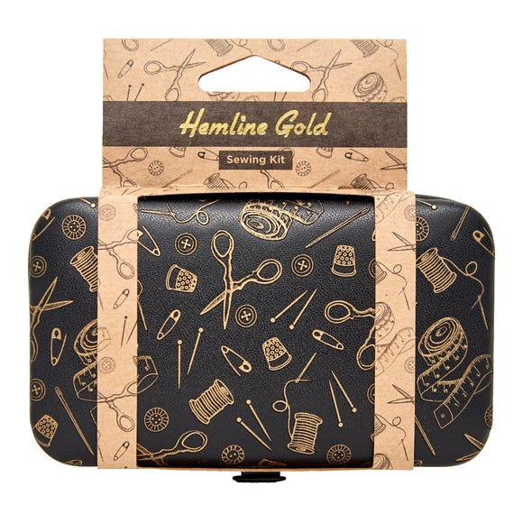 Hemline Gold PU Leather Sewing Kit Black and white