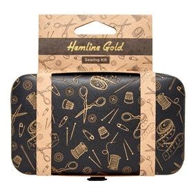Hemline Gold PU Leather Sewing Kit