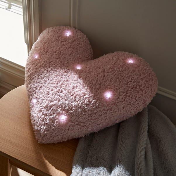 Pink Light Up Heart Cushion Light Pink