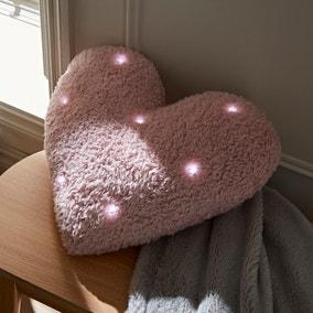 Pink Light Up Heart Cushion