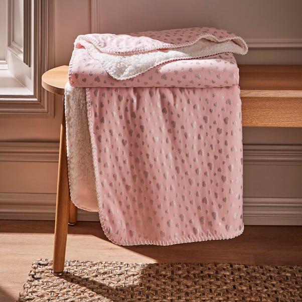 Pink Heart Foil Printed Sherpa Blanket Light Pink