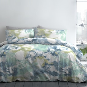 Fusion Tie Dye Blue Reversible Duvet Cover and Pillowcase Set