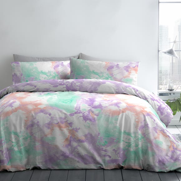 Fusion Tie Dye Multicoloured Reversible Duvet Cover and Pillowcase Set  undefined