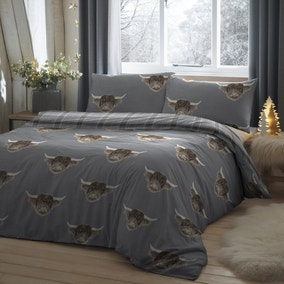 Fusion Highland Cow Grey Reversible Duvet Cover and Pillowcase Set