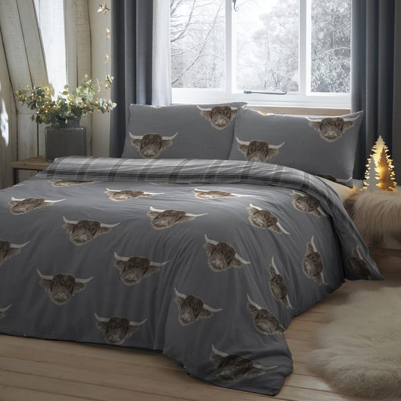 Fusion Highland Cow Grey Reversible Duvet Cover and Pillowcase Set  undefined