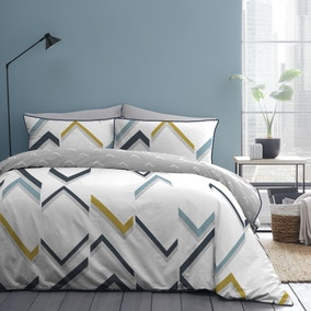 Appletree Fractured L White 100% Cotton Reversible Duvet Cover and Pillowcase Set