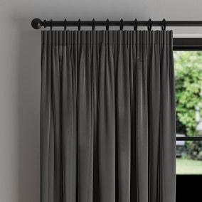 Phoenix Velour Graphite Thermal Pencil Pleat Curtains