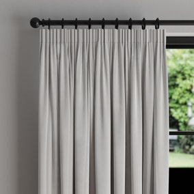 Phoenix Velour Silver Thermal Pencil Pleat Curtains