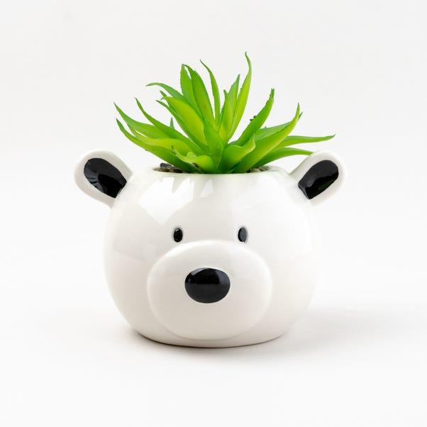 Artificial Plant in Teddy Bear Pot  White