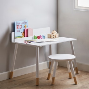 Small White Desk and Stool Set