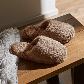 Teddy Bear Taupe Slippers