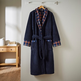 Sherpa Navy Checked Dressing Gown