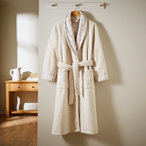 Sherpa Blush Checked Dressing Gown