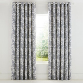Ginkgo Patchwork Pink and Mustard Eyelet Curtains