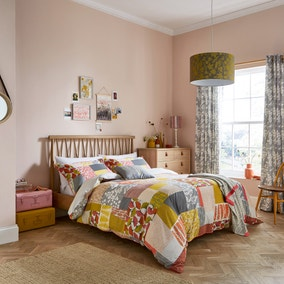 Clarissa Hulse Ginkgo Patchwork Pink and Mustard 100% Cotton Reversible Duvet Cover and Pillowcase Set