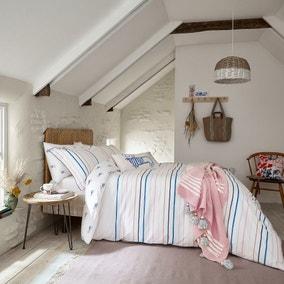 Joules Coastal Striped 100% Cotton Reversible Duvet Cover and Pillowcase Set