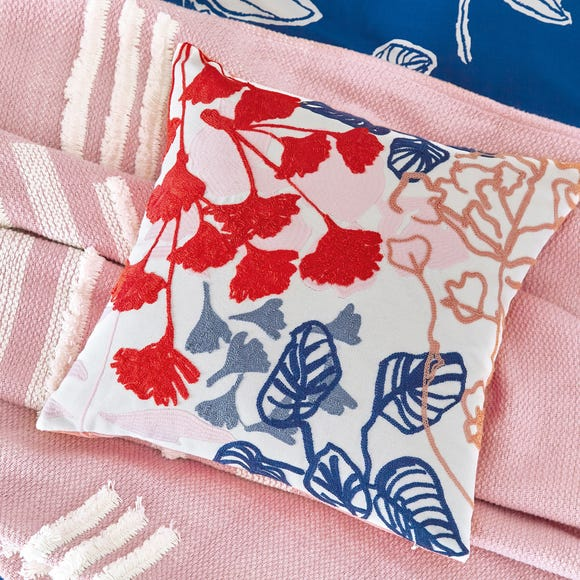 Joules Crayon Floral Cushion MultiColoured