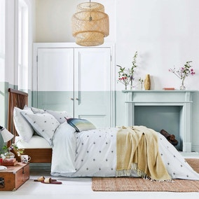 Joules Kelmarsh Bee Grey 100% Cotton Reversible Duvet Cover and Pillowcase Set