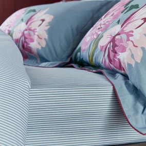 Joules Melrose Floral Blue 100% Cotton Fitted Sheet