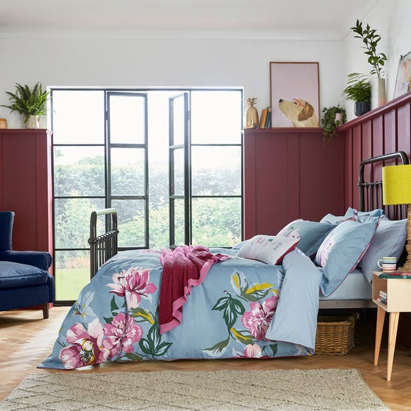 Joules Melrose Floral Blue 100% Cotton Reversible Duvet Cover and Pillowcase Set  undefined