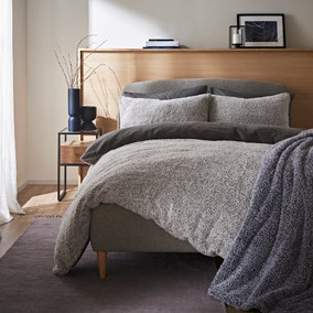 Teddy Bear Feather Soft Marl Reversible Duvet Cover and Pillowcase Set