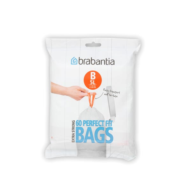 Brabantia Perfectfit Pack of 60 Size B 5 Litre Bin Bags White