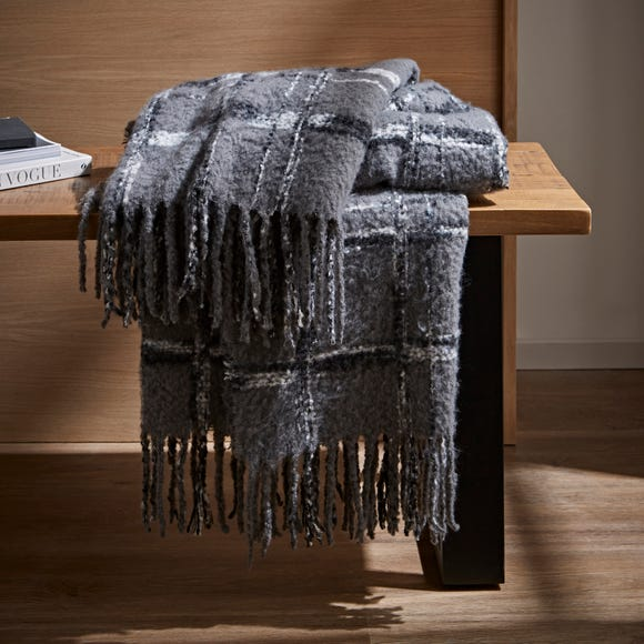 Urban Check Mohair Throw Grey undefined