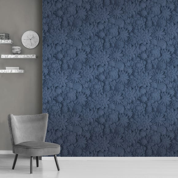 Dimensions Floral Navy Wallpaper Navy (Blue)